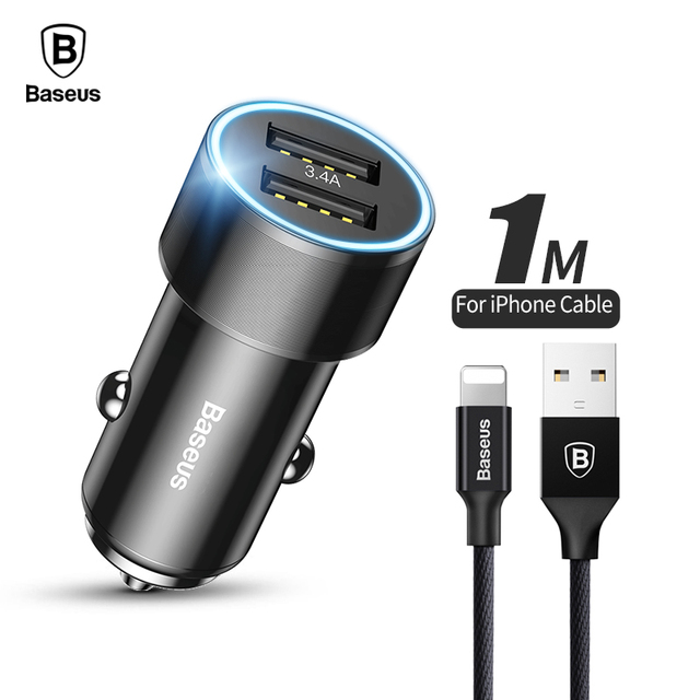 Baseus Dual USB Car Charger For IPhone Samsung Tablets Flash Charge 34A Mobile Phone With Cable Fast