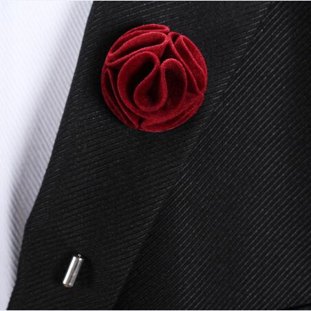 ae3d69092e222 US $1.77 40% OFF|1 pcs Piped Velvet Men's Lapel Flower Pin Wedding  Boutonniere Fabric Flower Brooch-in Brooches from Jewelry & Accessories on  ...