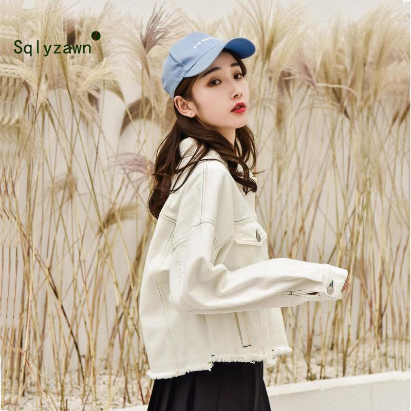 Ripped Drop Shoulder Women Denim Short Jackets Beige White Oversize Casual Lady Boyfriend Jean Jacket Coat Chic Jacket for Girls