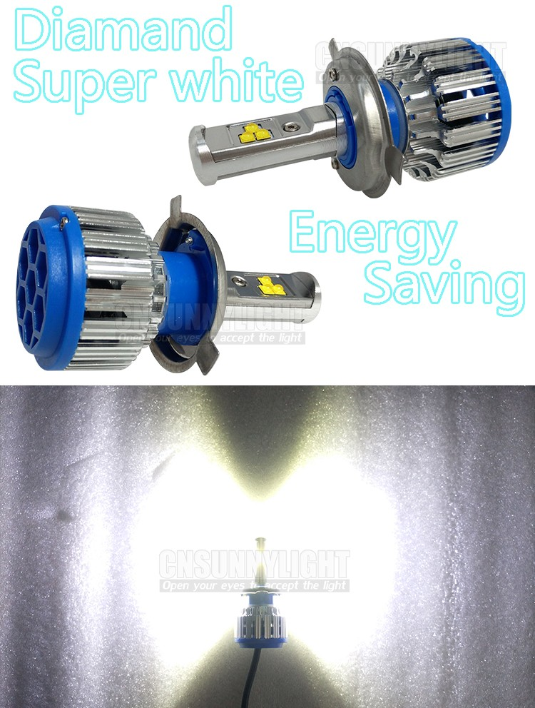 H4 Car Led Headlight High Power Auto H4-3 Hi lo HB2 9003 High Low 40W X2 White 6000K Bulb Repalcement Bi Xenon Headlamp (6)