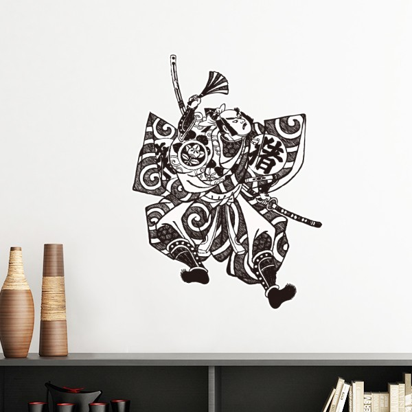 Us 90 Japan Traditional Culture Samurai Sword Fan Line Drawing Japanese Style Wall Sticker Art Decals Mural Wallpaper For Room Decal In Wall