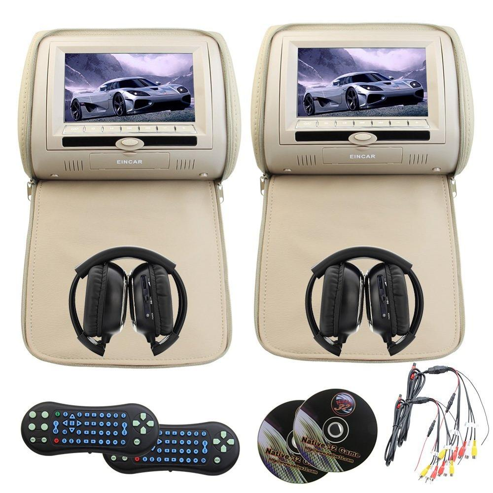 Eincar DVD Headrest Monitor 7 Inch Digital TFT LCD Screen Car Mp5 with USB/SD/cd support FM IR Multimedia Player+2 IR headphones eincar car 9 inch car dvd pillow headrest two monitor lcd screen usb sd 32 bit game fm ir multimedia player free 2 ir headphones