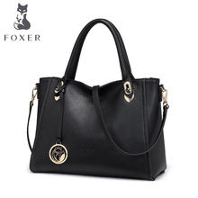 FOXER New women bag Superior cowhide genuine leather bag famous brands fashion Casual big capacity women handbags Shoulder Bag