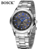 BOSCK Mens Watches Top Brand Luxury Silver Watch Men Casual Male Quartz Business Watches Sports Waterproof