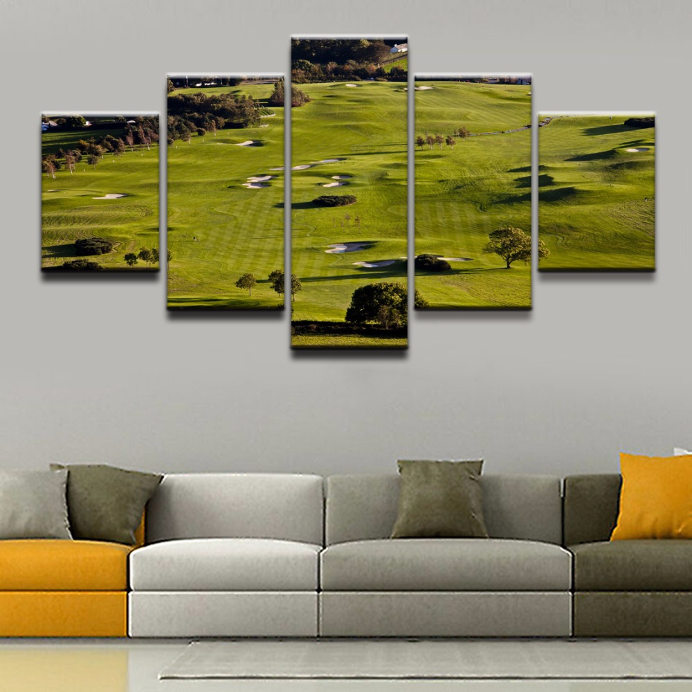 Modern Canvas Paintings Wall Art HD Prints Pictures Home Decor 5 Pieces Sports Green Landscape Golf Course Poster Framework