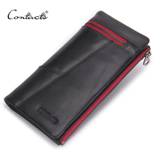 CONTACT'S Genuine Leather Men Wallets Red Zipper Design Casual Fashion Long Clutch Wallets With Coin Pur'se Cell Phone Bag