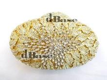 8228 Crystal OVAL Wedding Bridal Party Night Gold Metal Evening purse clutch bag handbag