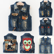 Children Denim Vest Coat For Boys or Girls Fashion  Pattern Jeans Waistcoat For Spring And Summer New Style