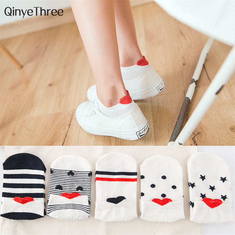 Fashion Women Kawaii 3D Heart ear   Socks   Cute Simple Fresh Female   Sock   With Stripe Dots Stars Big eyes 3D Love Heart Heel Sokken