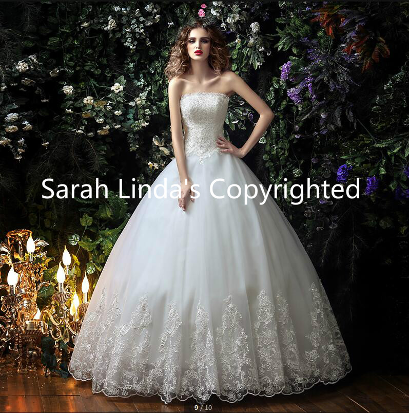2016 New Designer A Line White Lace Appliques Corset Wedding Dresses Strapless Sweetheart Neckline Glamorous Wedding Gowns