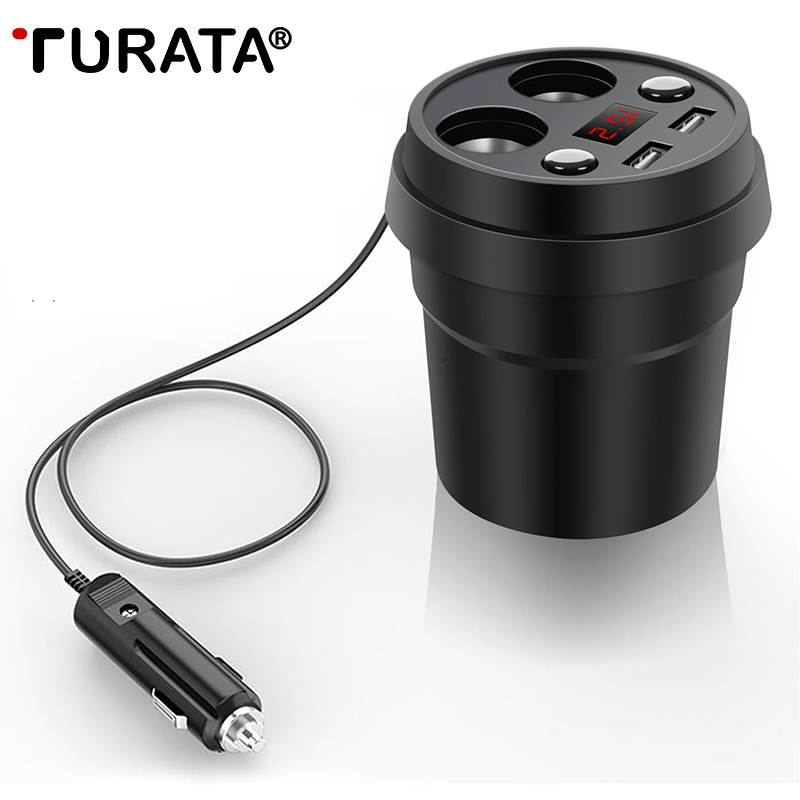 TURATA USB Car-Charger Dual 3.1A Quick Charging USB Car Charger with 2-Socket Cigarette Lighter for iphone Samsung Smartphone