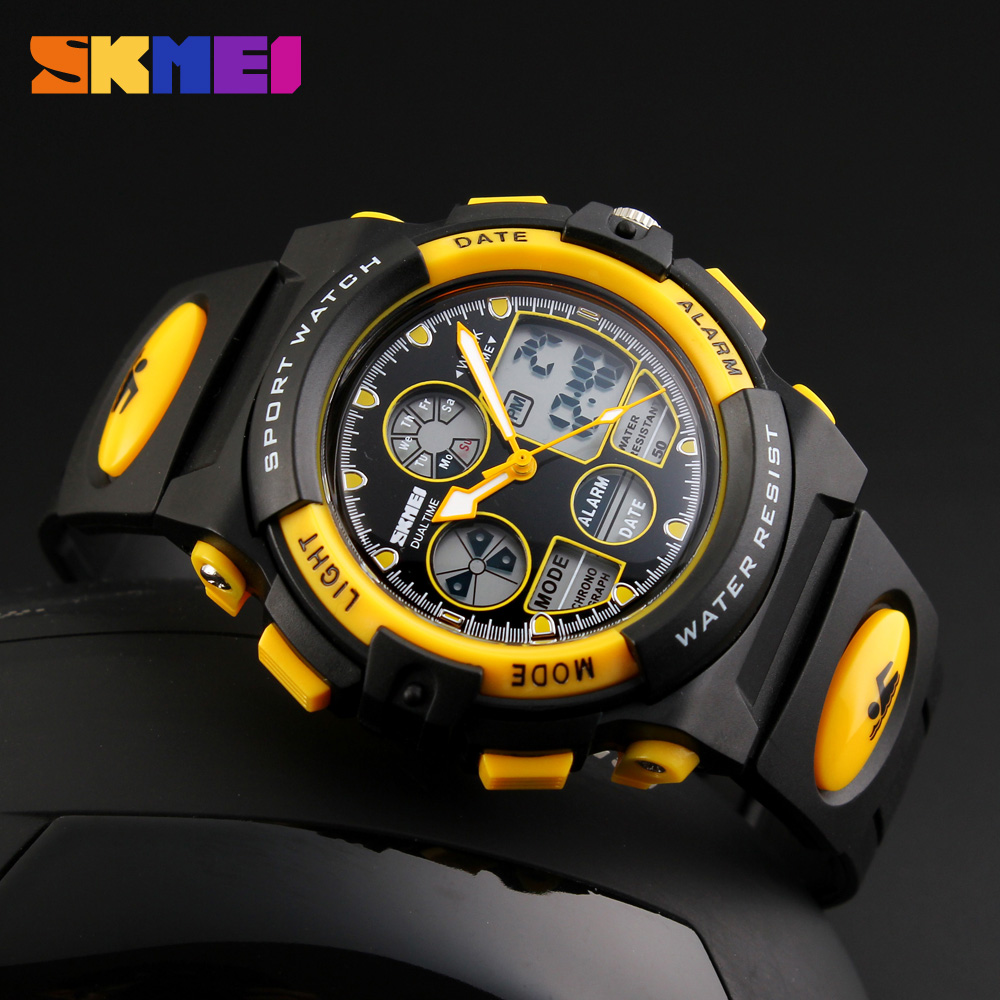 Sports-Watches Skmei Kids Children Dual-Display Girls Waterproof Boys for Military LED