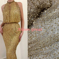 Beaded fabric lace glitter shiny lace fabric for party dress