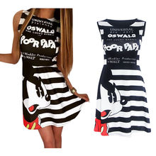 Sakazy Cartoon Letter Print Stripe Dress Summer Cute Women O-neck Mini Casual Vestido Dress New Fashion Clothing Animation