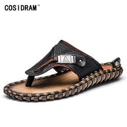COSIDRAM Genuine Leather Men Slippers Beach Shoes Men Flip Flops 2018 Summer Flat Heels Male Slides Luxury Plus Size 48 BRM-019