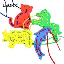 4 шт животные шнуровка формы Пазлы резиновые пластиковые Мультяшные животные игрушки детские нитки вышивка DIY игрушки подарок случайные цвета