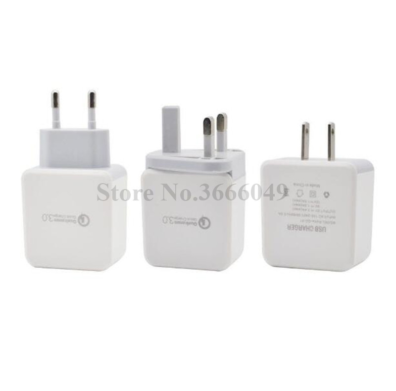 100pcs Eu US UK QC 3 0 Fast Adaptive Wall charger power adapter for iphone for