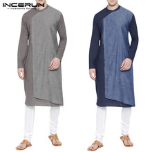 INCERUN Muslim Clothes Men Islamic Arab Kaftan Cotton Long Sleeve Patchwork 2019 Middle East Saudi Arabia Robes Jubba Thobe