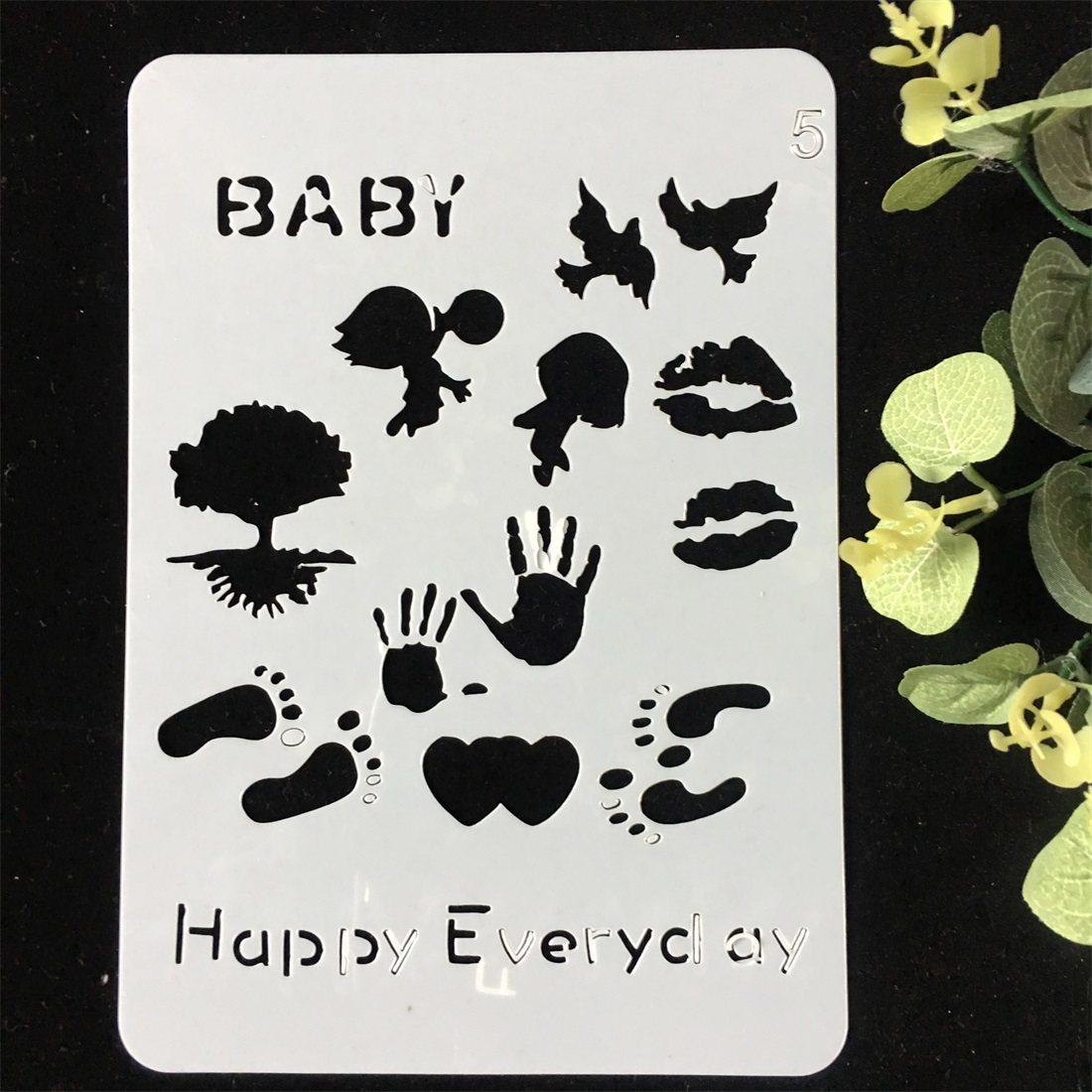 1Pcs 20x14cm Baby Hand Print DIY Layering Stencils Wall Painting Scrapbook Coloring Embossing Album Decorative Card Template