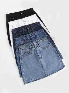 Zoki Skirt Fashion Hip-Jeans Harajuku Blue Sexy High-Waist Denim Mini Korean Plus-Size