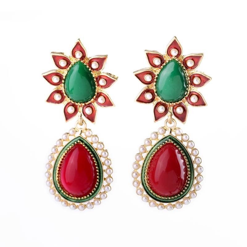 Floral Water Drop Women Red Statement Earring Latest Popular ...