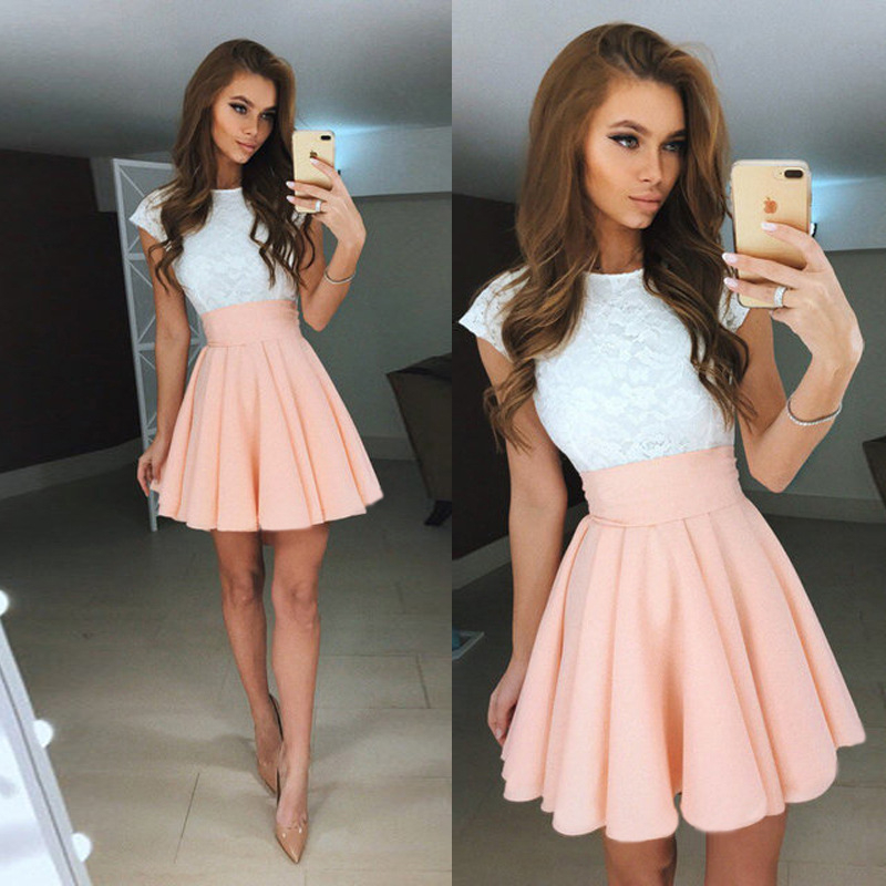 Women Dress Summer 2017 New Fashion Sexy White Lace Dresses Elegant O-neck Mini Party Dress Plus Size