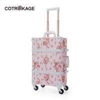 COTRUNKAGE розовый цветочный PU кожаный чемодан в стиле ретро чемодан твердая Женская дорожная тележка для каюты винтажный багаж багажник для де