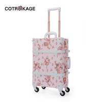 COTRUNKAGE Pink Floral Pu Leather Retro Luggage Suitcase Hard Womens Traveling Cabin Trolley Vintage Luggage Trunk for Girls