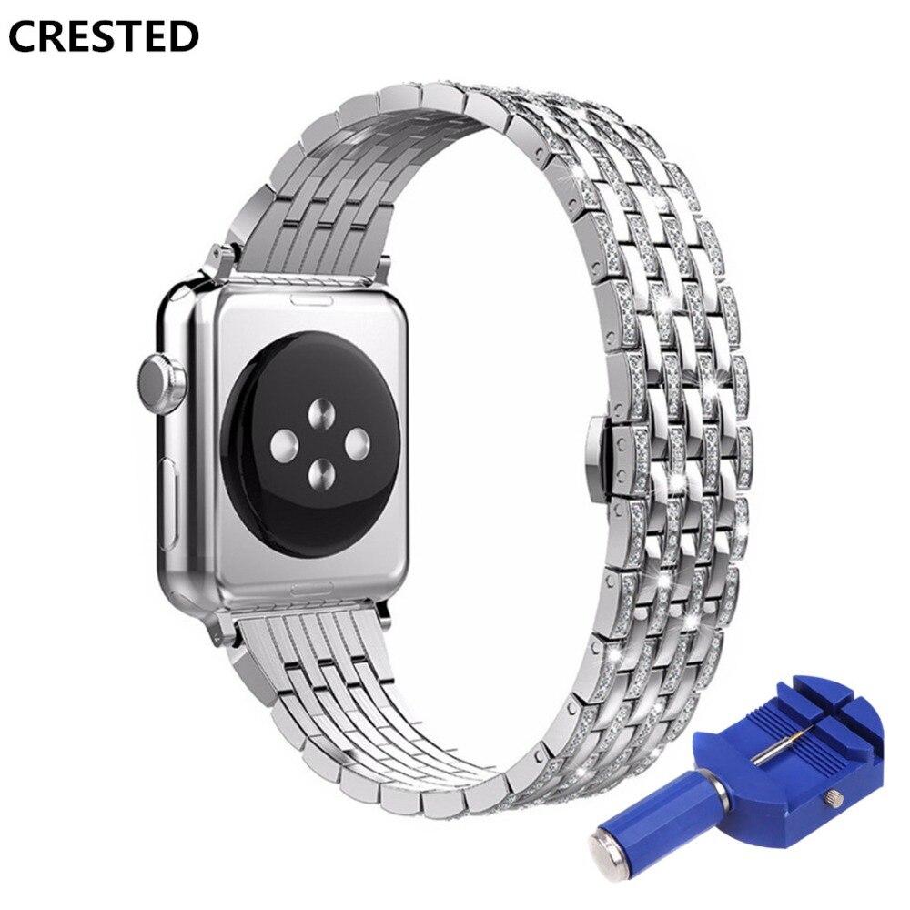 CRESTED Diamant edelstahl strap Für Apple uhr 4 band 44mm/40mm iwatch 3 2 1 42 mm/38mm handgelenk armband butrery Schleife correa