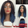 Ombre Black to Blue Two Tone Color Short Body Wave Synthetic Lace Front Bob Wig, which is made of Heat Resistant Fiber.
