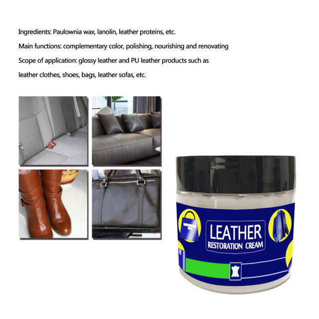 60g Multifunctional Leather Cleaning Cream Reconditioning Leather Cream Vinyl Repair Kit Auto Car Seat Sofa Coats Holes 0617#30
