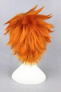 Image 4 - ¡Anime Haikyuu de alta calidad! Hinata Syouyou Peluca de pelo sintético resistente al calor, peluca de pelo corto rizado naranja + gorro para peluca