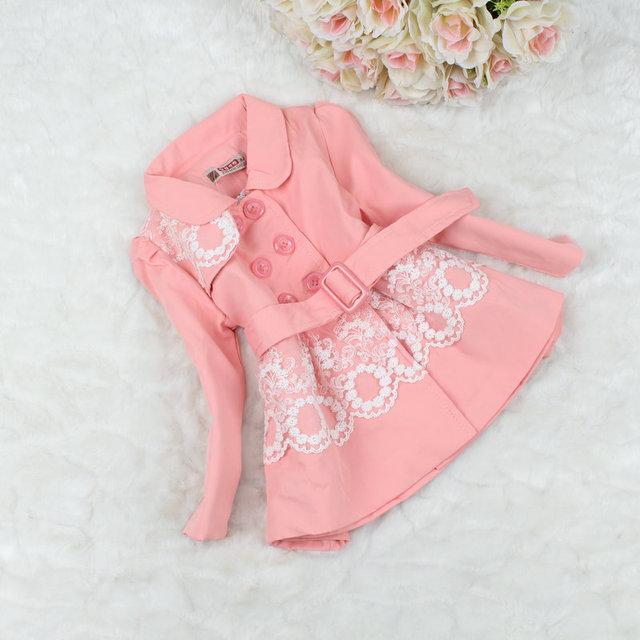 Niños niñas Primavera otoño outwear abrigos de moda las niñas niños estilo coreano encaje de manga Larga de algodón trench coat