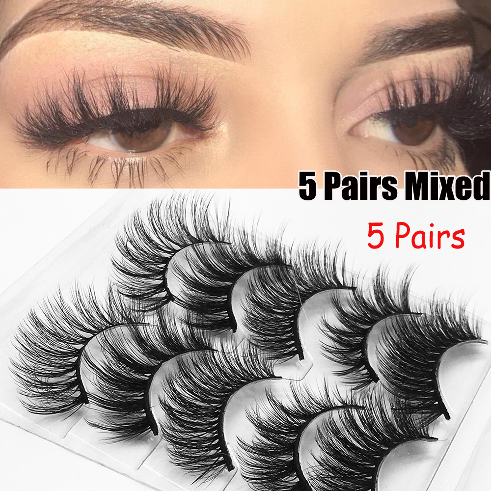 5 Pairs False Eyelashes 3D Natural Eyelash Wispy Lashes Handamde Cruelty-free Flared Variety Lashes Extension Makeup Tool