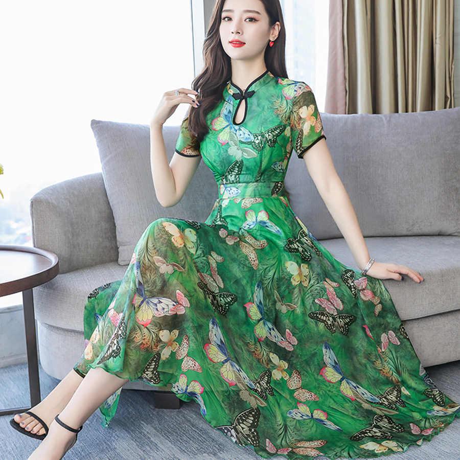 2019 винтажные шифоновые платья-миди в китайском стиле с цветочным принтом, летние платья 3XL, большие размеры, сарафан с принтом, женские элегантные облегающие вечерние платья