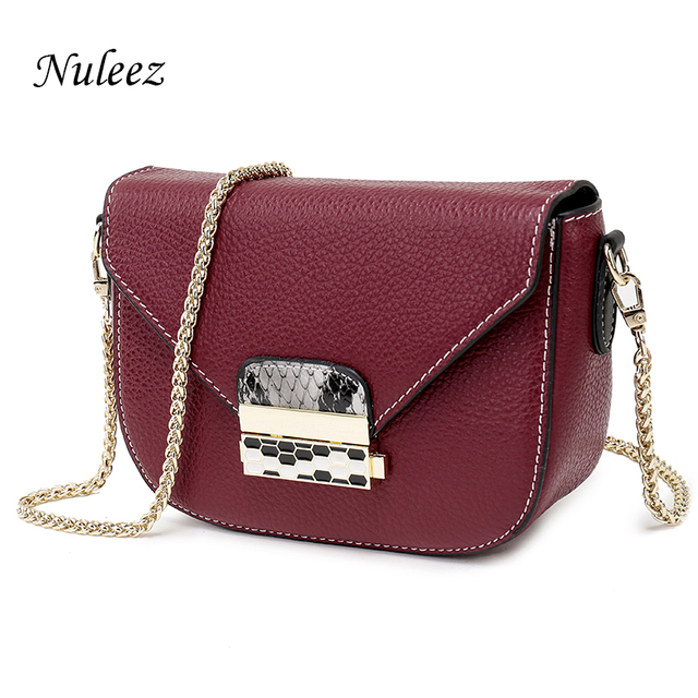 Nuleez Saddle Small Gold Chain Bag Candy Color Genuine Leather Crossbody Bags Women Day Clutch Pink