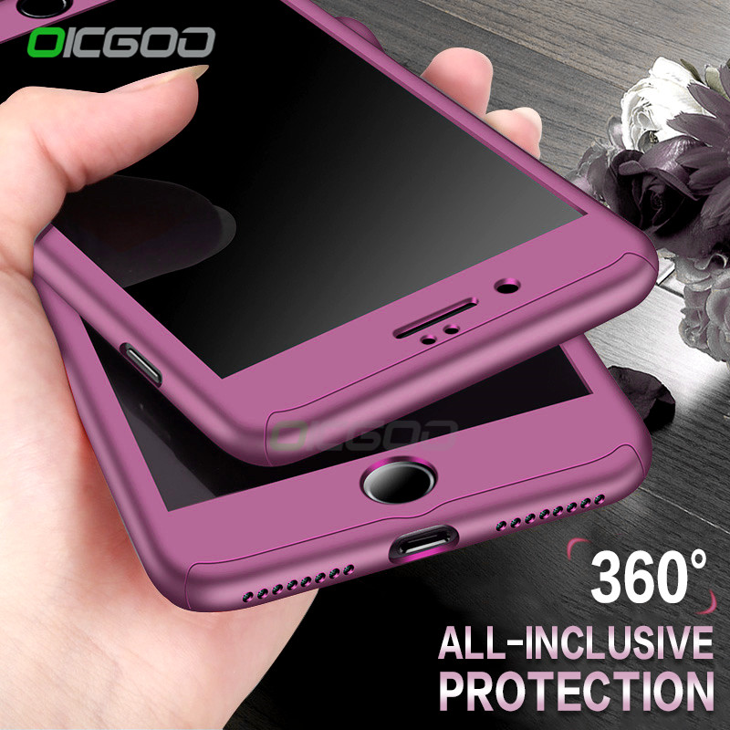 OICGOO 360 Degree Full Body Hard Cover Case For iPhone 7 8 Plus Hybrid Shockproof Case For iPhone 6 6S Plus With Tempered Glass
