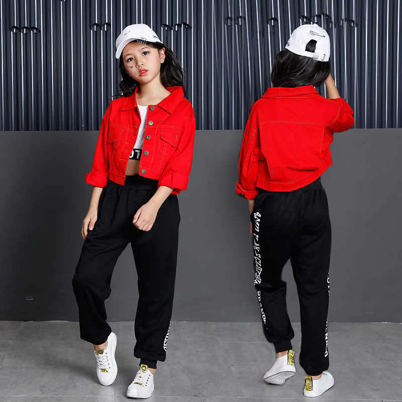 fb7588a896b7 ... Teenage Girls Clothing Set 2018 Cotton Red Crop Jacket Top Pant Three  Pieces Sets For Kids