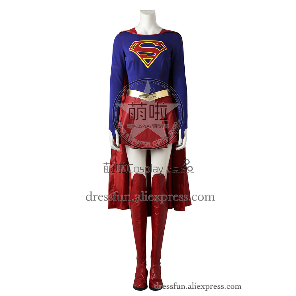 Superman Supergir Cosplay Costume Kara Zor-el Costume With Cape Red Halloween Dress Uniform Skirt Fashion Clothing Party