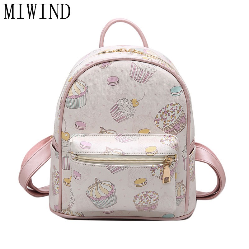 Fashion Cute Printing Women PU Leather Backpack School Bags for Teenage Girls Backpacks Travel Small Backpacks Mochila TDY33 2017 new fashion summer style casual travel backpacks korean backpack for teenage girls female pu leather school bags mochila