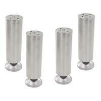 4pcs 200mm Height Adjustable 10 15mm Cabinet Feet Silver Tone Stainless Steel Table Bed Sofa Leveling