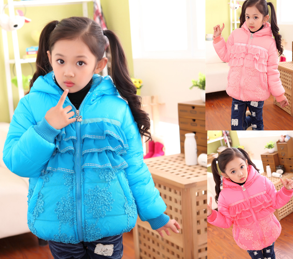ФОТО Free shipping winter girl cotton-padded clothes embroidery lace stitching chiffon hot drilling bowknot childrenclothes