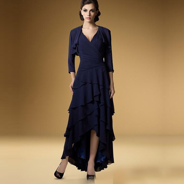 BM1010 Navy Blue Long Mother Of The Bride Dresses 2016 Chiffon Spaghetti Straps Ruffles Tiered Jacket