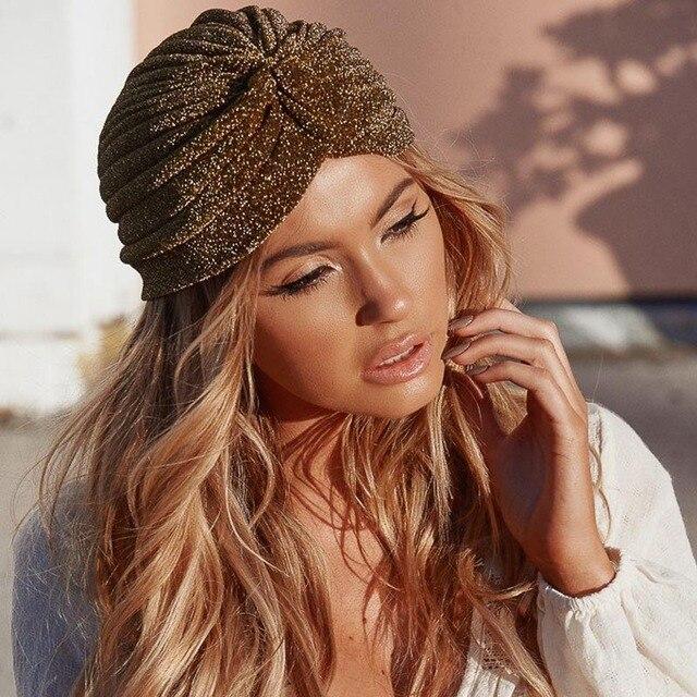 Gold Women Bling Silver Turban Knot Twist Headbands Cap Autumn Female  Winter Headwear Casual Streetwear Warm Indian Hats 9dba96f4c37