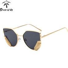 487ab55f3aa6 DRESSUUP Hipster Wing Cat Eye Sunglasses Women Brand Designer Coating Sun  Glasses Ocean Color Shades Oculos De Sol Feminino