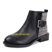 Зимняя обувь женские ботинки из натуральной кожи ботильоны на низком каблуке на плоской платформе Для женщин сапоги зимние сапоги из плюша