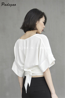 PADEGAO Short Butterfly Sleeve Sexy V Neck Japanese Style Winding Belt White Ladies Shirt 2017 Summer