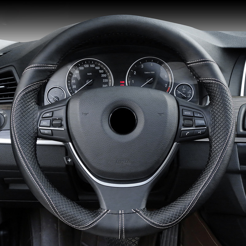 Hand sewing Embossed Steering wheel Cover Interior Accessories For Fiat OPEL Renault Skoda Audi Volkswagen Buick Mitsubishi BMW