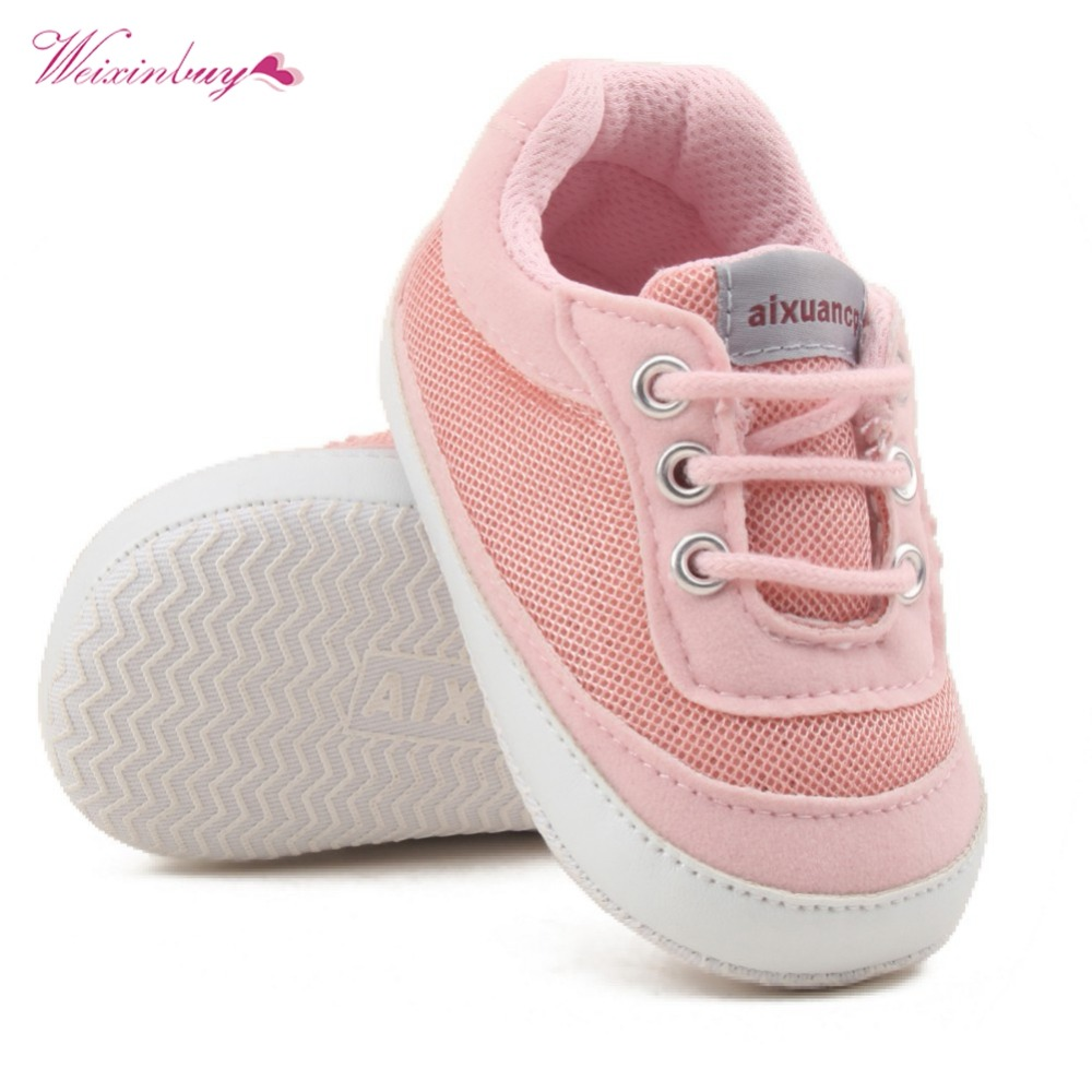 WEIXINBUY Newborn Baby Girls Shoes First Walkers Spring Autumn Baby Boy Soft Sole Shoes Infant Canvas Crib Shoes 0-18 Months
