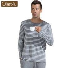 Qianxiu casual pyjamas klassische streifen nachtwäsche plus größe oansatz unterwäsche anzug männlichen pyjamas